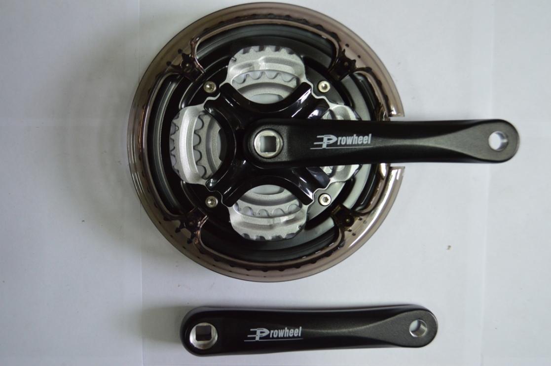 Шатун комплект спорт. 26 алюм. PROWHEEL 48/38/28 170 мм, код 423